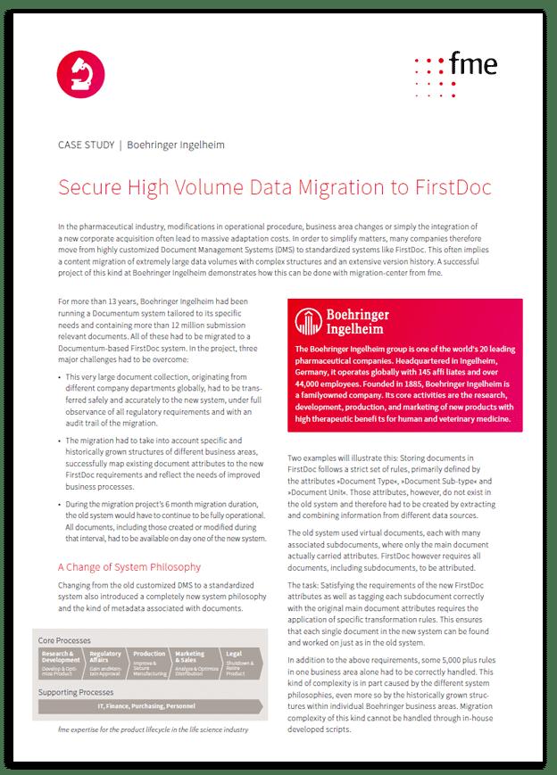 Thumbnail | Case study | Boehringer Ingelheim | Secure high volume data migration to FirstDoc