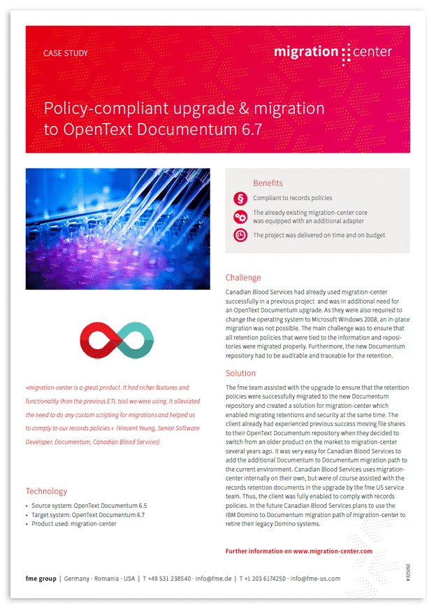Thumbnail | Case study | Canadian Blood Services | Policy-compliant upgrade & migration to OpenText Documentum 6.7