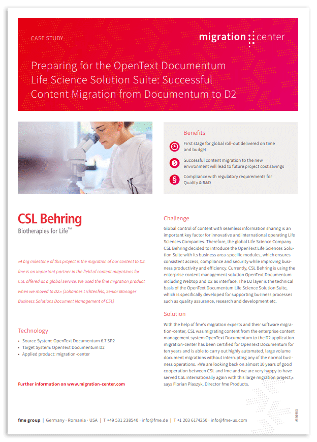 Thumbnail | Case study | CSL Behring | Preparing for the OpenText Documentum life science solution suite: Successful content migration from Documentum to D2