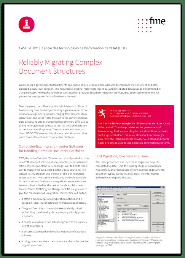 Thumbnail | Case study | CTIE | Reliably migrating complex document structures