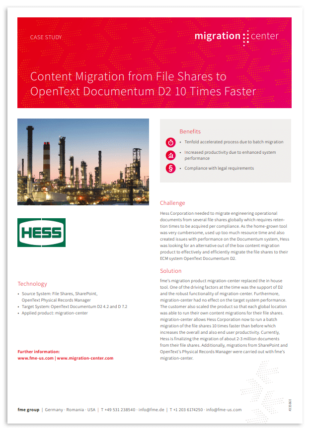 Thumbnail | Case study | Hess Corporation | Content migration from file shares to OpenText Documentum D2 10 times faster