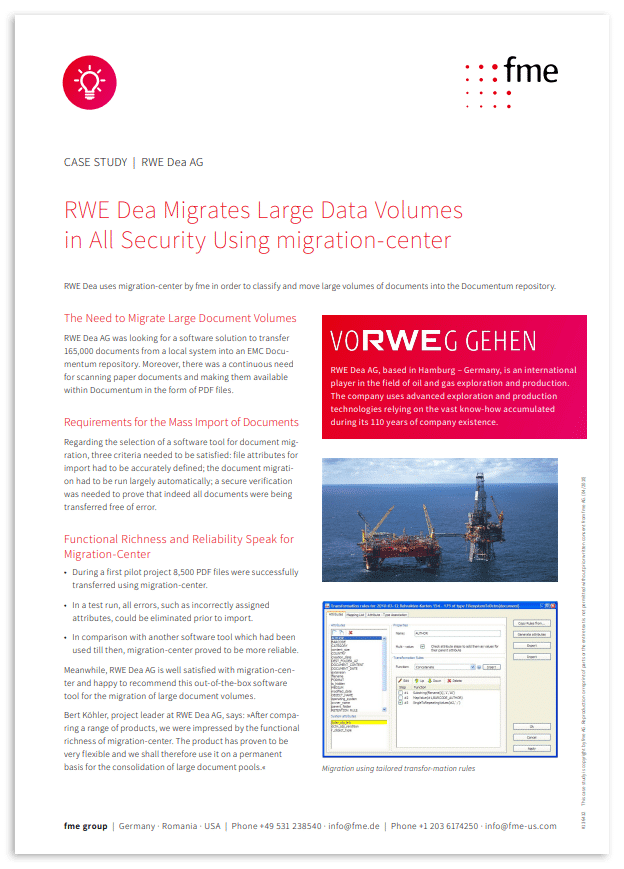 Thumbnail | Case study | RWE Dea | RWE Dea migrates large data volumes in all security using migration-center
