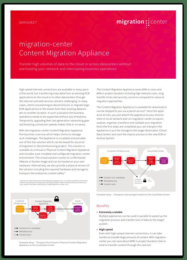 Thumbnail | Datasheet | migration-center content migration appliance