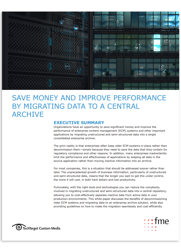 Thumbnail | TechTarget Whitepaper | Save money and improve performance by migrating data to a central archive