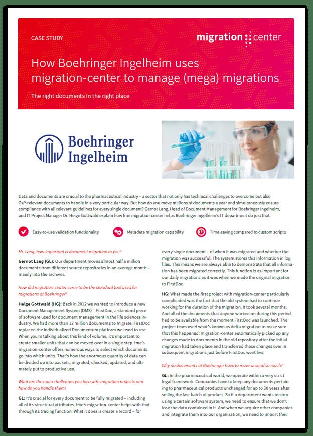 Thumbnail | Case study | Boehringer Ingelheim | How Boehringer Ingelheim uses migration-center to manage (mega) migrations