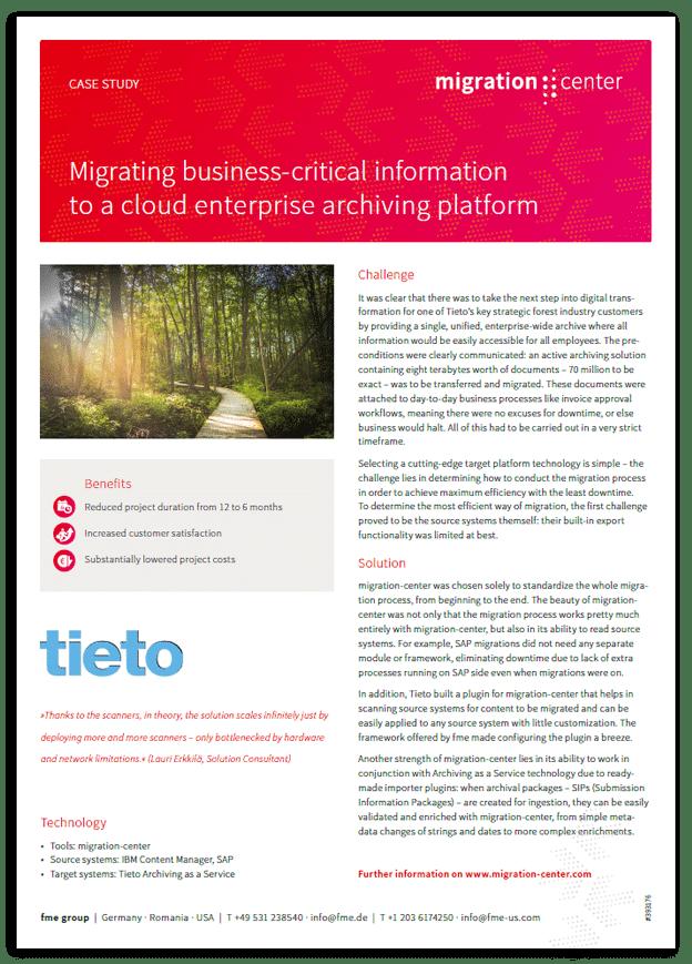 Thumbnail | Case study | Tieto | Migrating business-critical information to a cloud enterprise archiving platform