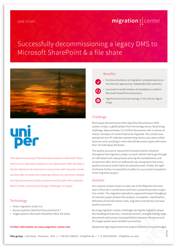 Thumbnail | Case study | Uniper | Successfully decommissioning a legacy DMS to Microsoft SharePoint & a file share