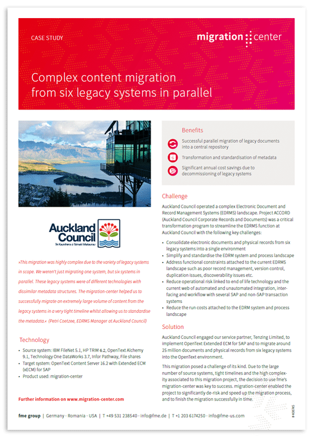 Thumbnail | Case study | Auckland Council | Complex content migration from six legacy systems in parallel