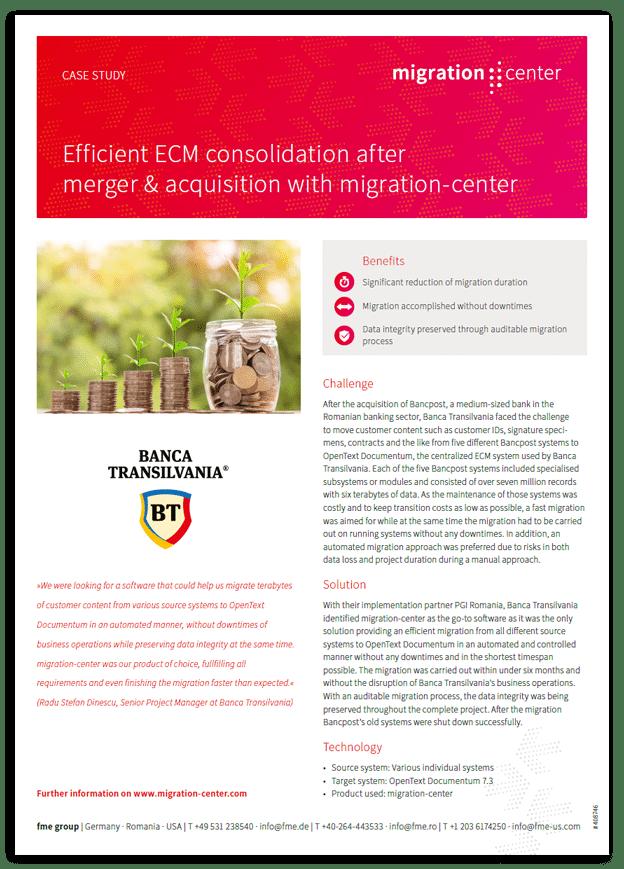 Thumbnail | Case study | Banca Transilvania | Efficient ECM consolidation after merger & acquisition with migration-center