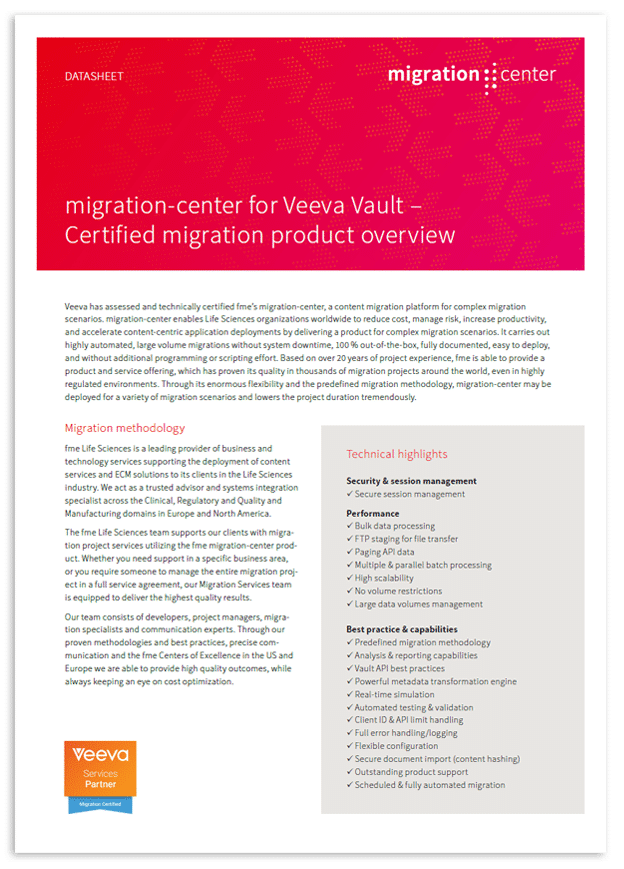 Thumbnail | Datasheet | migration-center for Veeva Vault - Certified migration product overview