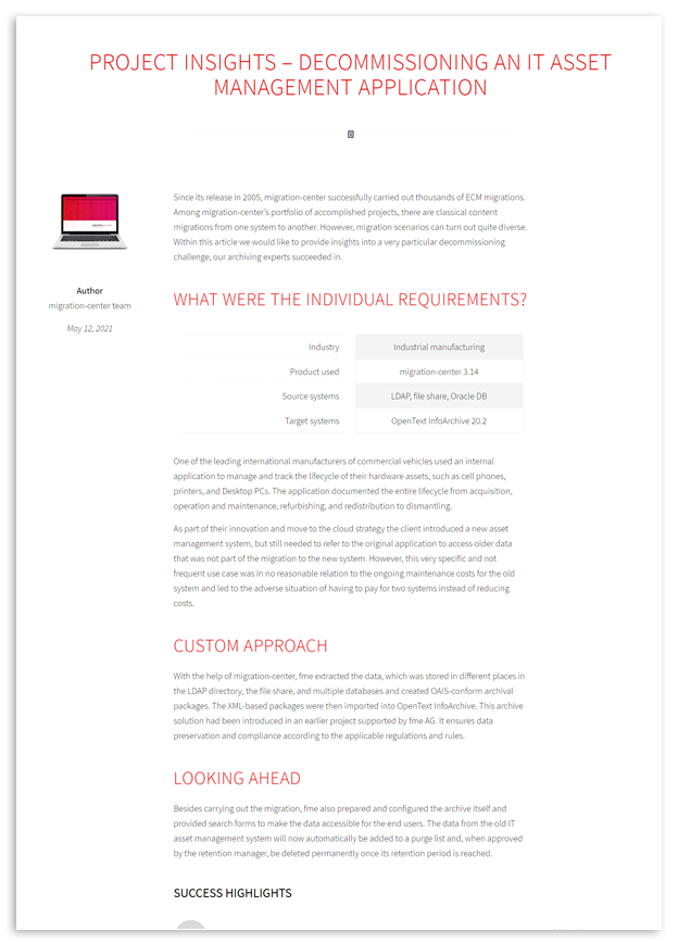Thumbnail | Collateral | Blogpost | Project Insights - Decommissioning an IT asset management application
